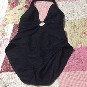 Talbots brand sz 12 swimsuit one piece NWT black
